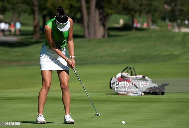 Michelle Wie putts during the second round of the PG NW Arkansas Championship at the Pinnacle Country Club on September 11 2010 in Rogers Arkansas