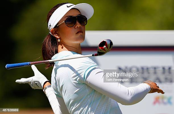 Michelle Wie reacts after hitting a tee shot during Round One of the North Texas LPGA Shootout Presented by JTBC at the Las Colinas Country Club on...