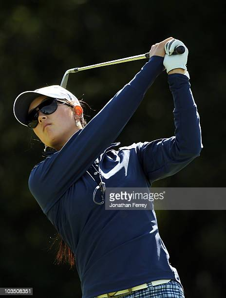 Michelle Wie tees off on the 16th hole during the first round of the Safeway Classic at Pumpkin Ridge Golf Club on August 20 2010 in North Plains...