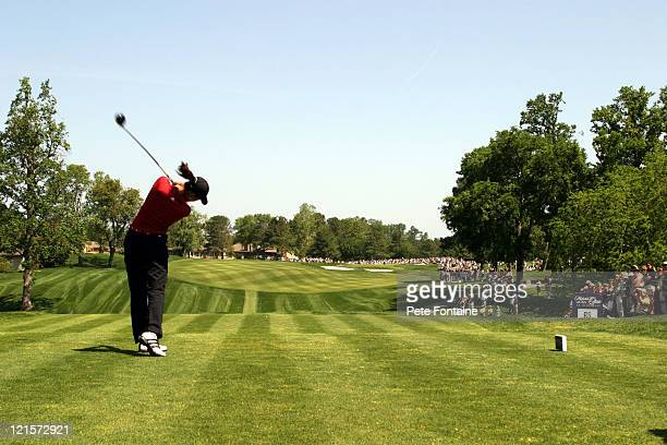 Michelle Wie tees off on the first hole during the third round of the Michelob Ultra Open May 8 2004