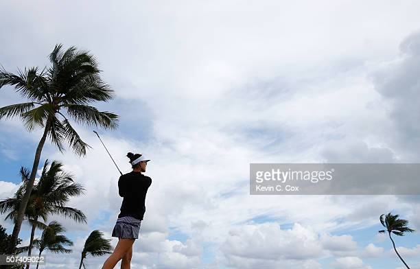 Michelle Wie tees off the eighth hole during the second round of the Pure Silk Bahamas LPGA Classic at the Ocean Club Golf Course on January 29 2016...