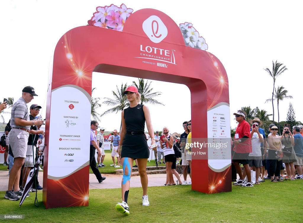 Michelle Wie walks to the first tee during the fourth round of the LPGA LOTTE Championship at the Ko Olina Golf Club on April 14, 2018 in Kapolei, Hawaii.
