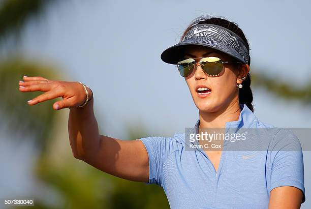 Michelle Wie walks up the fourth hole during the first round of the Pure Silk Bahamas LPGA Classic at the Ocean Club Golf Course on January 28 2016...