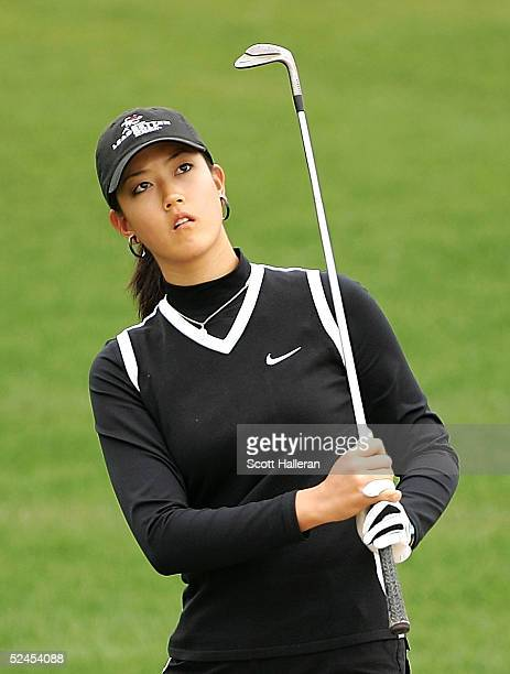 Michelle Wie watches her pitch shot on the third hole during the third round of the Safeway International on March 19 2005 at Superstition Mountain...