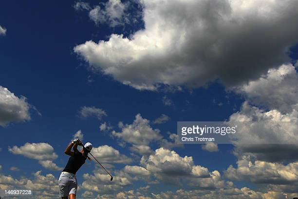Michelle Wie watches her tee shot on the 14th hole in the third round of the Manulife Financial LPGA Classic at Grey Silo Golf Course on June 23 2012...