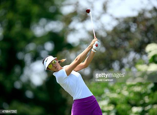 Michelle Wiel of the United States plays her tee shot on the par 4 11th hole during the second round of the 2015 KPMG Women's PGA Championship on the...