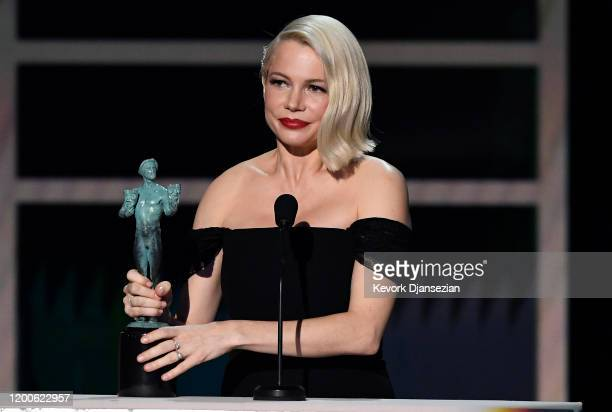Michelle Williams accepts Outstanding Performance by a Female Actor in a Television Movie or Miniseries for 'Fosse/Verdon' onstage during the 26th...