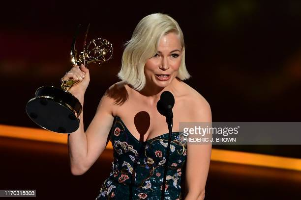 TOPSHOT Michelle Williams accepts the Outstanding Lead Actress in a Limited Series or Movie award for Fosse/Verdon onstage during the 71st Emmy...