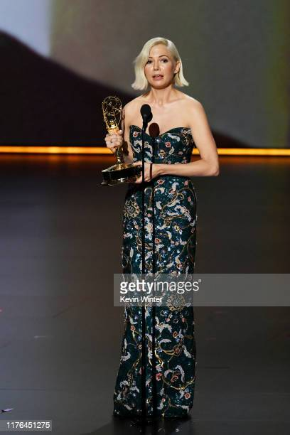 Michelle Williams accepts the Outstanding Lead Actress in a Limited Series or Movie award for 'Fosse/Verdon' onstage during the 71st Emmy Awards at...