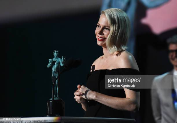 Michelle Williams accepts the Outstanding Performance by a Female Actor in a Television Movie or Miniseries award for 'Fosse/Verdon' onstage during...