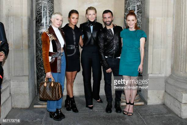 Michelle Williams Alicia Vikander Cate Blanchett Nicolas Ghesquiere and Julianne Moore pose after the Louis Vuitton show as part of the Paris Fashion...