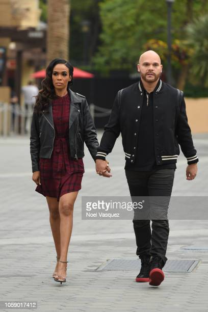 Michelle Williams and Chad Johnson visit Extra at Universal Studios Hollywood on November 7 2018 in Universal City California