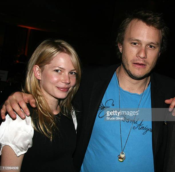 Michelle Williams and Heath Ledger during Awake and Sing Opening Night After Party at Marriott Marquis Ballroom in New York City New York United...