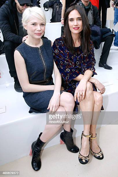Michelle Williams and Jennifer Connelly attend the Louis Vuitton show as part of the Paris Fashion Week Womenswear Fall/Winter 2015/2016 on March 11...