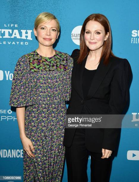 """Michelle Williams and Julianne Moore attend the """"After the Wedding"""" Premiere during the 2019 Sundance Film Festival at Eccles Center Theatre on..."""
