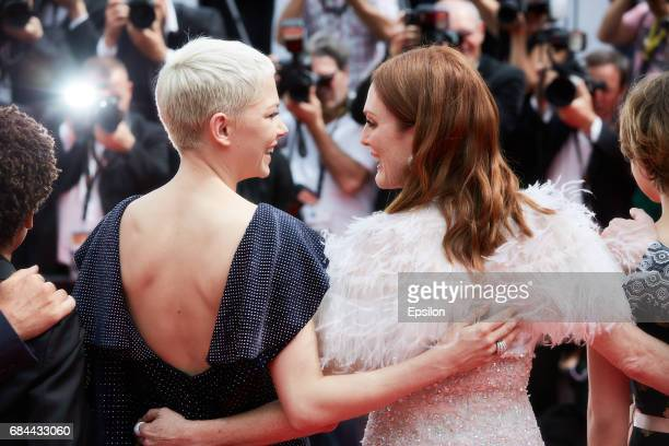 Michelle Williams and Julianne Moore attend the 'Wonderstruck' screening during the 70th annual Cannes Film Festival at Palais des Festivals on May...