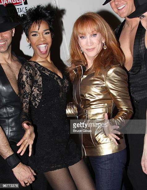Michelle Williams and Kathy Griffin pose at The Wendy Williams Show on February 16 2010 in New York City