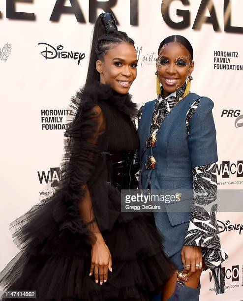 Michelle Williams and Kelly Rowland arrive at the WACO Theater Center's 3rd Annual Wearable Art Gala at The Barker Hangar at Santa Monica Airport on...