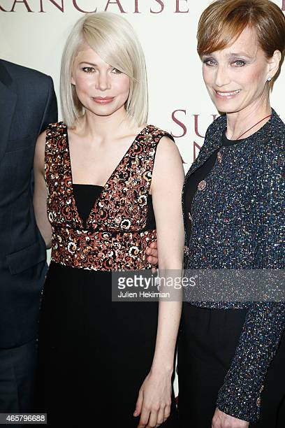 Michelle Williams and Kristin Scott Thomas attend 'Suite Francaise' Premiere at Cinema UGC Normandie on March 10 2015 in Paris France