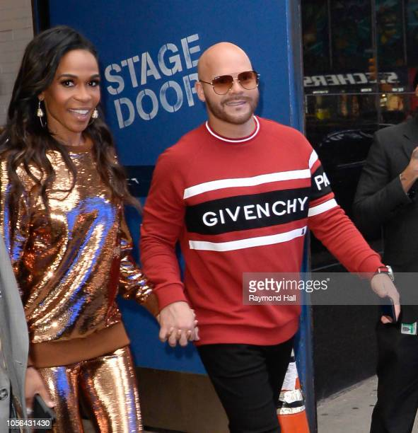 Michelle Williams and Pastor Chad Johnson are seen outside good moning america on November 2 2018 in New York City