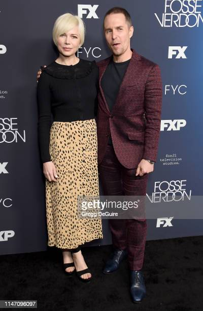 Michelle Williams and Sam Rockwell arrive at the FYC Event For FX's Fosse/Verdon at Samuel Goldwyn Theater on May 30 2019 in Beverly Hills California
