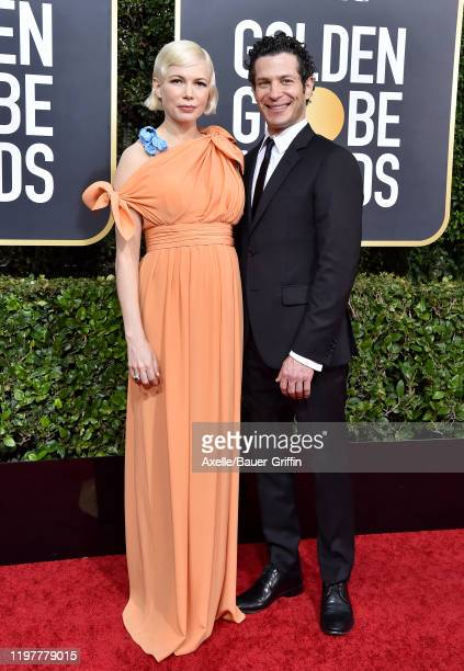 Michelle Williams and Thomas Kail attend the 77th Annual Golden Globe Awards at The Beverly Hilton Hotel on January 05 2020 in Beverly Hills...