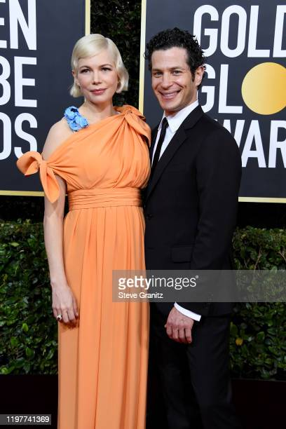 Michelle Williams and Thomas Kail attends the 77th Annual Golden Globe Awards at The Beverly Hilton Hotel on January 05 2020 in Beverly Hills...