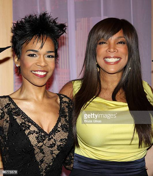 Michelle Williams and Wendy Williams pose on the set of The Wendy Williams Show on February 16 2010 in New York City