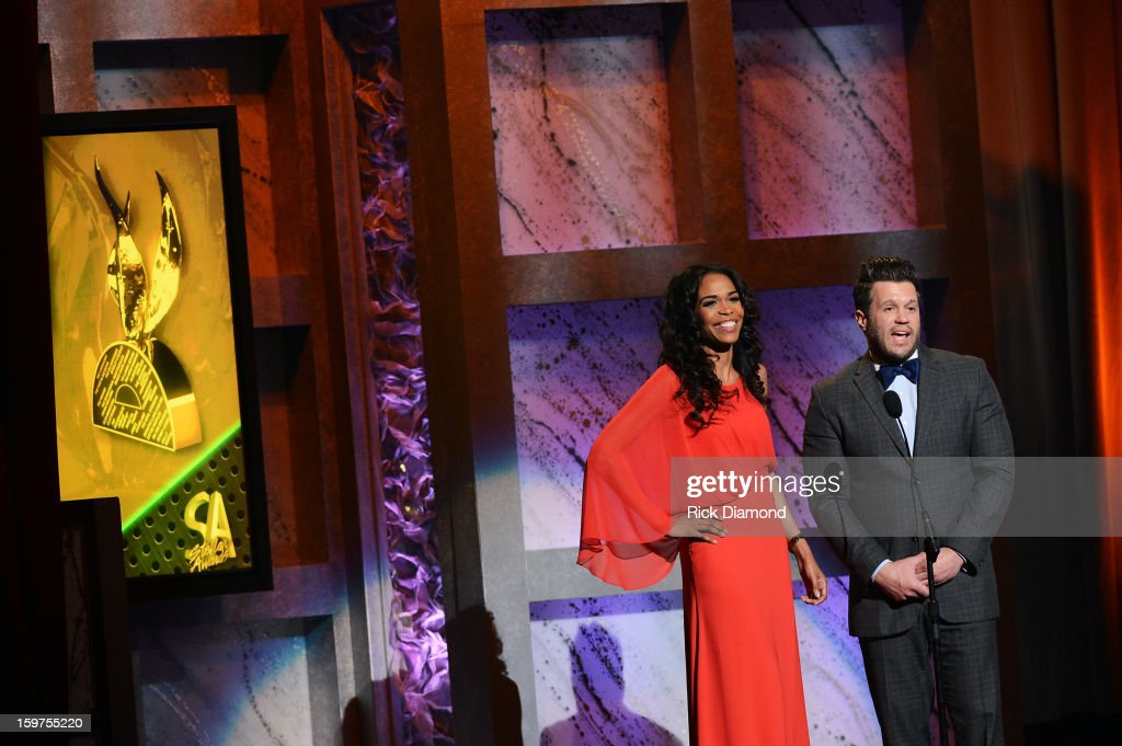 Michelle Williams and Wess Morgan present the Group/Duo of the Year Award at the 28th Annual Stellar Awards Show at Grand Ole Opry House on January 19, 2013 in Nashville, Tennessee.