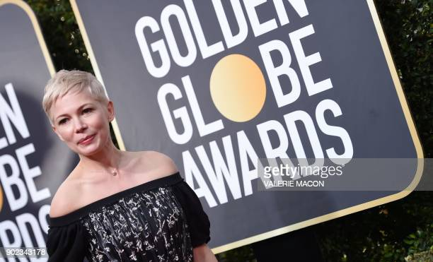 Michelle Williams arrives for the 75th Golden Globe Awards on January 7 in Beverly Hills California / AFP PHOTO / VALERIE MACON