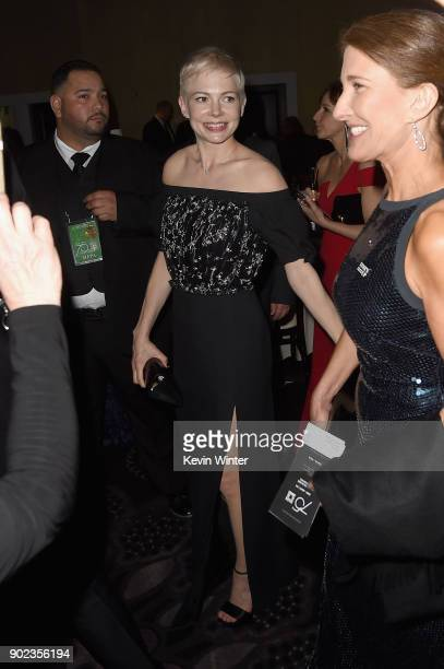 Michelle Williams attends a cocktail reception during The 75th Annual Golden Globe Awards at The Beverly Hilton Hotel on January 7 2018 in Beverly...