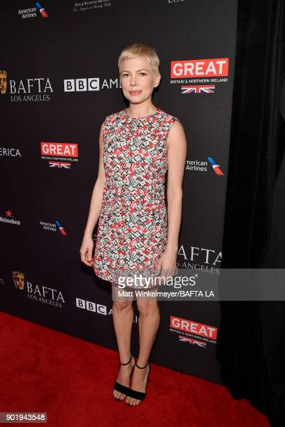 Michelle Williams attends The BAFTA Los Angeles Tea Party at Four Seasons Hotel Los Angeles at Beverly Hills on January 6 2018 in Los Angeles...