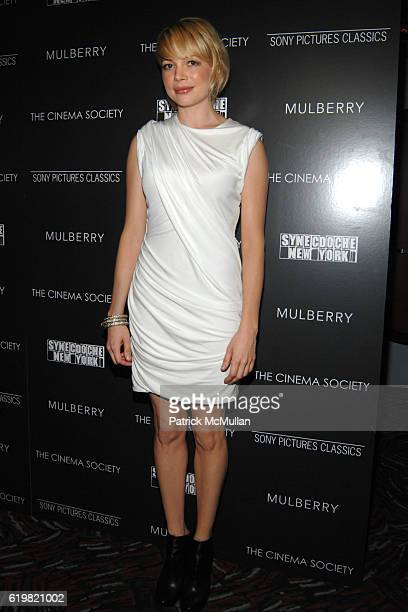 Michelle Williams attends THE CINEMA SOCIETY and MULBERRY host a screening of SYNECDOCHE NEW YORK at AMC Loews 19th Street East on October 15 2008 in...