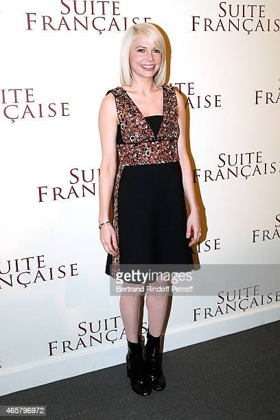 Michelle Williams attends the world premiere of 'Suite Francaise' at Cinema UGC Normandie on March 10 2015 in Paris France