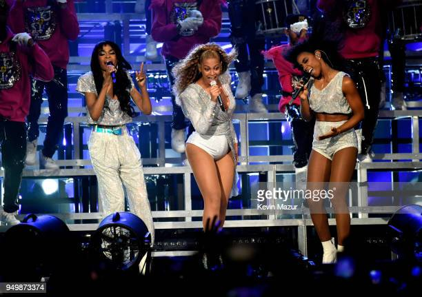 Michelle Williams Beyoncé Knowles and Kelly Rowland of Destiny's Child perform onstage during the 2018 Coachella Valley Music And Arts Festival at...