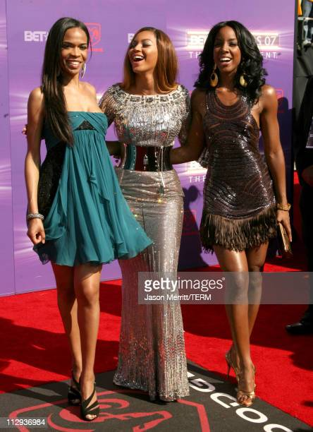 Michelle Williams Beyonce and Kelly Rowland during BET Awards 2007 Arrivals at Shrine Auditorium in Los Angeles California United States