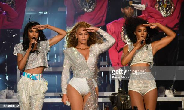 Michelle Williams, Beyonce Knowles and Kelly Rowland of Destiny's Child perform onstage during the 2018 Coachella Valley Music And Arts Festival at...