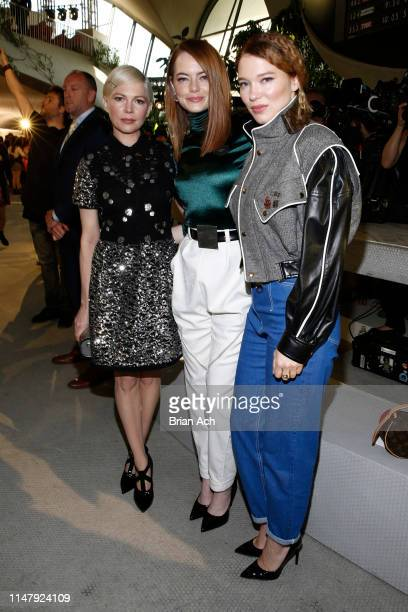 Michelle Williams, Emma Stone and Lea Seydoux attend the Louis Vuitton Cruise 2020 Fashion Show at JFK Airport on May 08, 2019 in New York City.