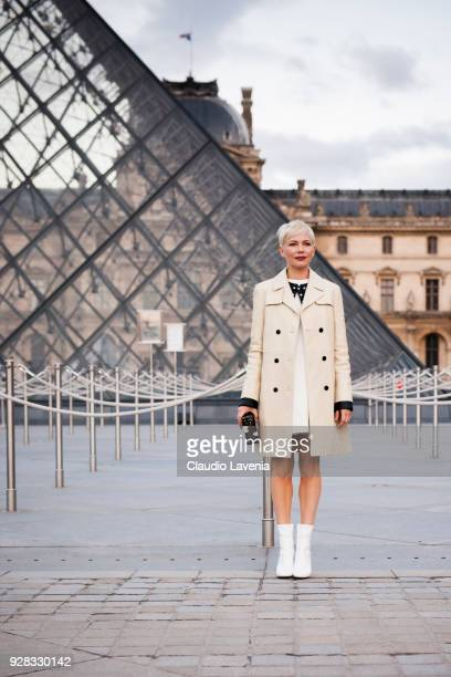 Michelle Williams is seen in the streets of Paris before the Louis Vuitton show during Paris Fashion Week Womenswear Fall/Winter 2018/2019 on March 6...
