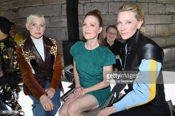 Michelle Williams Julianne Moore and Cate Blanchett attend the Louis Vuitton show as part of the Paris Fashion Week Womenswear Spring/Summer 2018 on...