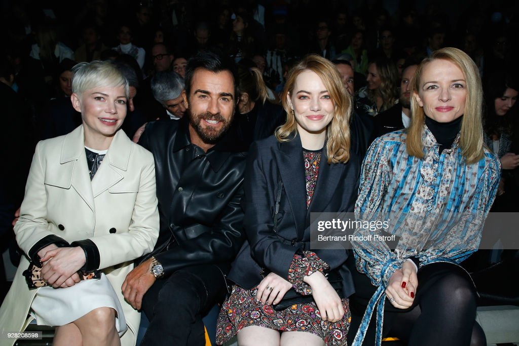 Michelle Williams, Justin Theroux, Emma Stone and Louis Vuitton's executive vice president Delphine Arnault attend the Louis Vuitton show as part of the Paris Fashion Week Womenswear Fall/Winter 2018/2019 on March 6, 2018 in Paris, France.