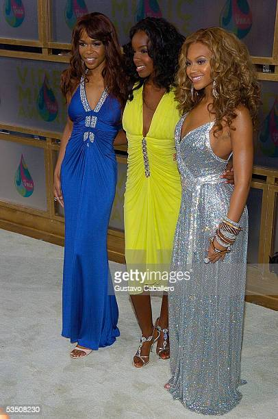 Michelle Williams Kelly Rowland and Beyonce Knowles of Destiny's Child arrive at the 2005 MTV Video Music Awards at the American Airlines Arena on...