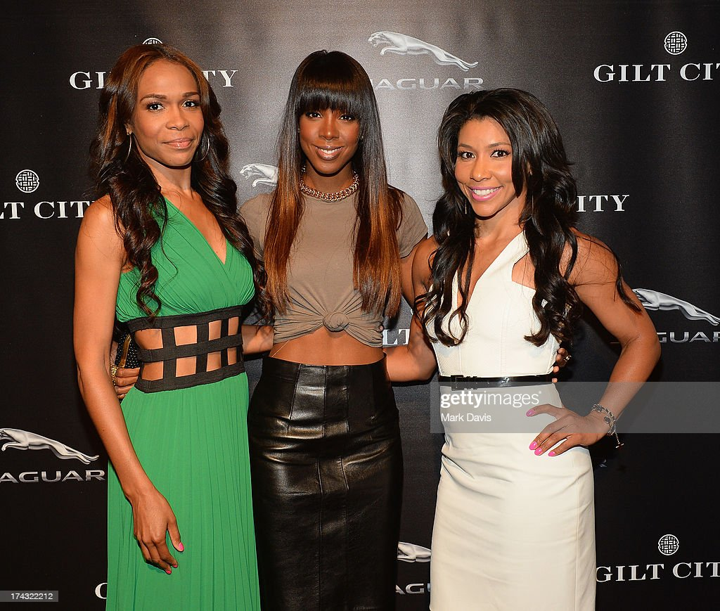Michelle Williams, Kelly Rowland and Jeanette Jenkins pose at the 'Jaguar and Gilt celebrate #MyTurnToJag' held at Siren Studios on July 23, 2013 in Hollywood, California.