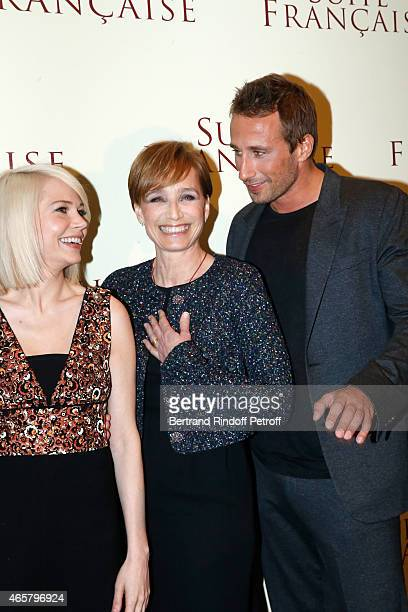 Michelle Williams Kristin Scott Thomas and Matthias Schoenaerts attend the world premiere of 'Suite Francaise' at Cinema UGC Normandie on March 10...