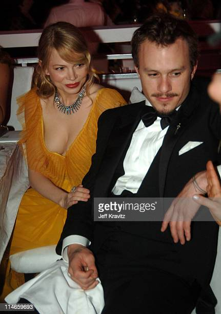 """Michelle Williams, nominee Best Actress in a Supporting Role for """"Brokeback Mountain"""", and Heath Ledger, nominee Best Actor in a Leading Role for..."""