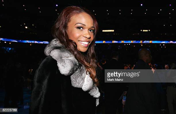 Michelle Williams of Destiny's Child walks off the court after the 2005 NBA All Star Game at the Pepsi Center on February 20 2005 in Denver Colorado