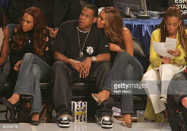 Michelle Williams rapper Jay Z and singer Beyonce Knowles attend the 2005 NBA All Star Game at the Pepsi Center on February 20 2005 in Denver Colorado