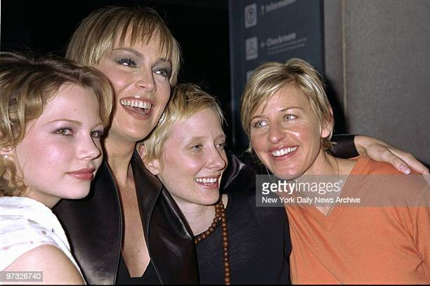"Michelle Williams, Sharon Stone, Anne Heche and Ellen DeGeneres get together at the premiere of the TV movie ""If These Walls Could Talk 2"" at the..."