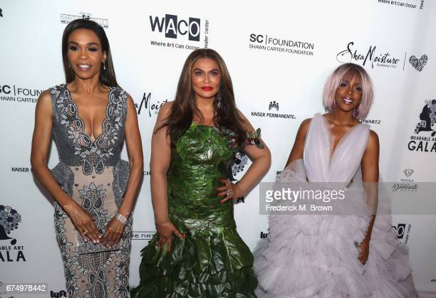 Michelle Williams Tina Knowles and Kelly Rowland attend the Wearable Art Gala at California African American Museum on April 29 2017 in Los Angeles...
