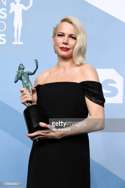 Michelle Williams, winner of Outstanding Performance by a Female Actor in a Television Movie or Miniseries for 'Fosse/Verdon', poses in the press...